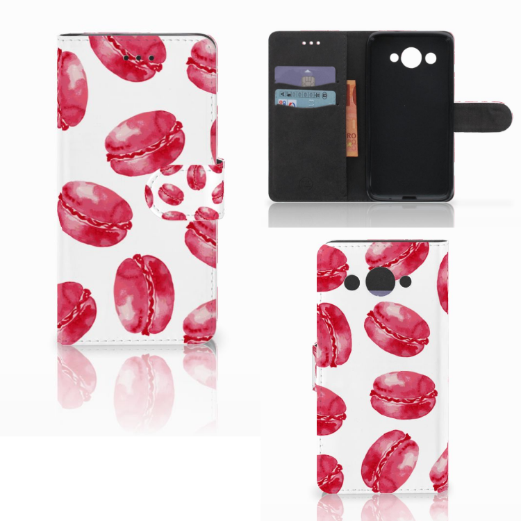 Huawei Y3 2017 Book Cover Pink Macarons