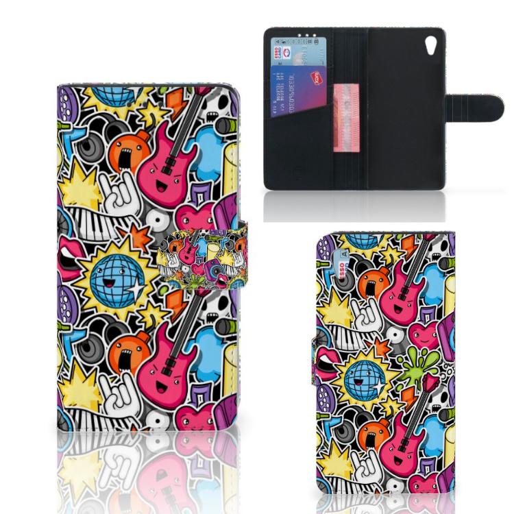 Sony Xperia Z3 Wallet Case met Pasjes Punk Rock