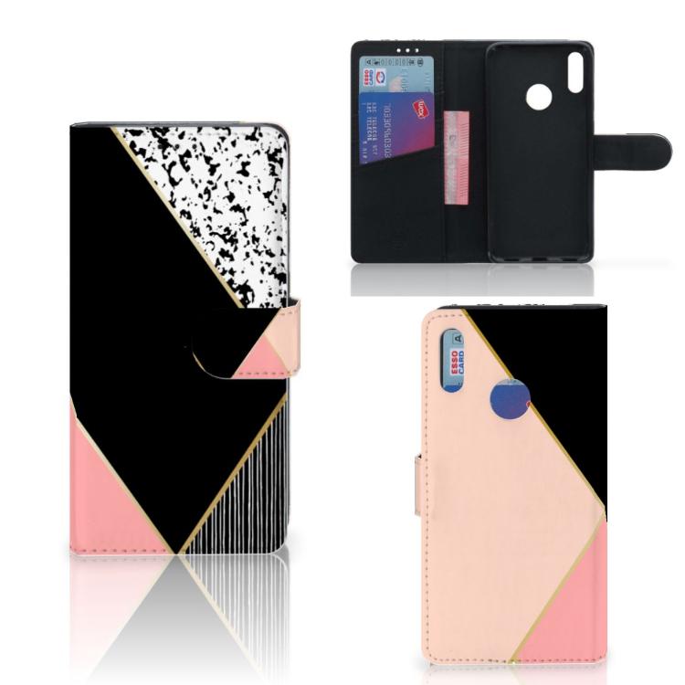 Huawei Y7 Pro | Y7 Prime (2019) Bookcase Zwart Roze Vormen