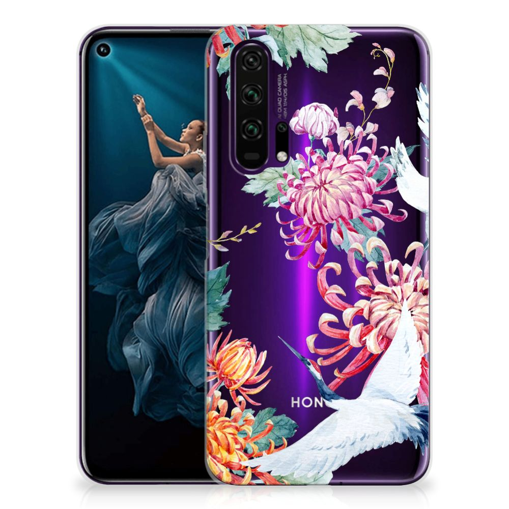 Honor 20 Pro TPU Hoesje Bird Flowers