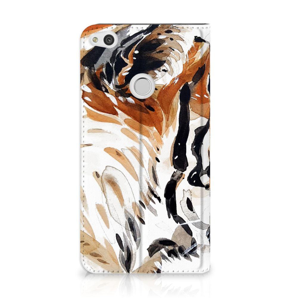 Huawei P8 Lite 2017 Uniek Standcase Hoesje Watercolor Tiger