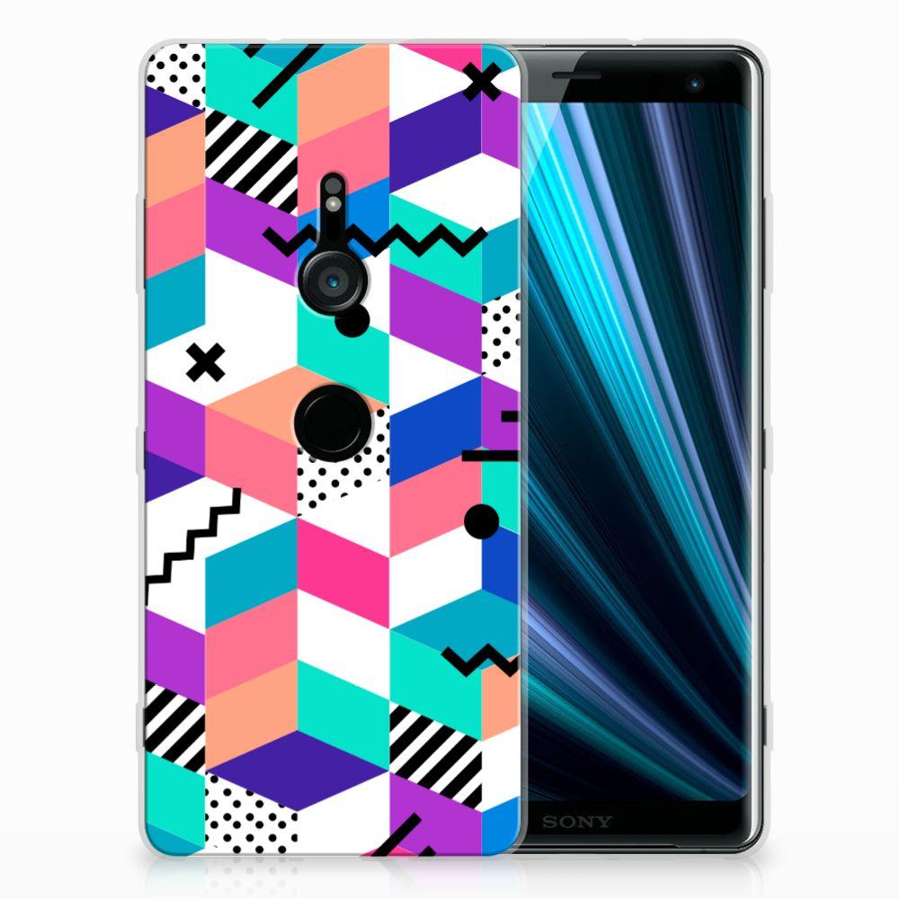 Sony Xperia XZ3 TPU Hoesje Blokken Kleurrijk