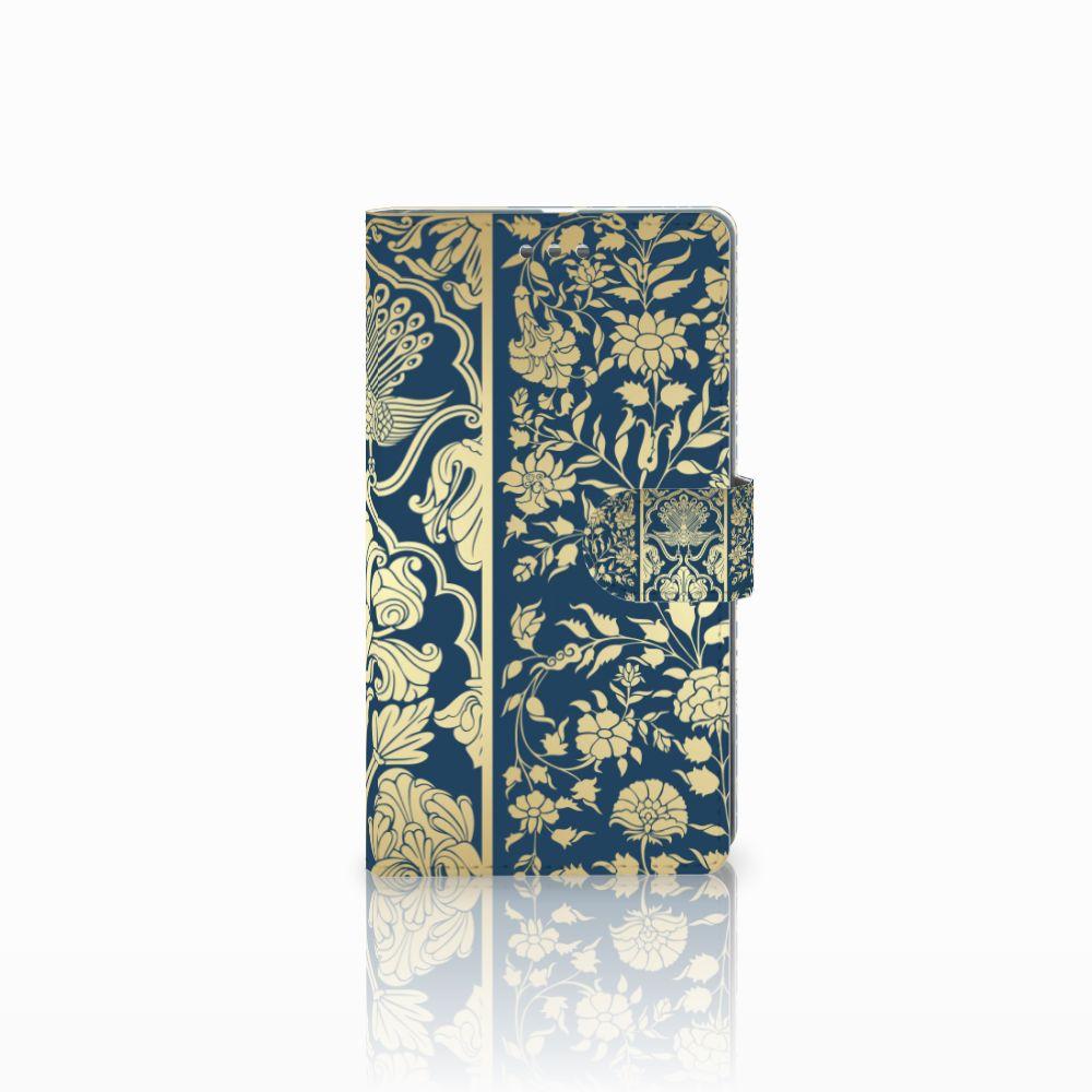 Microsoft Lumia 950 XL Uniek Boekhoesje Golden Flowers