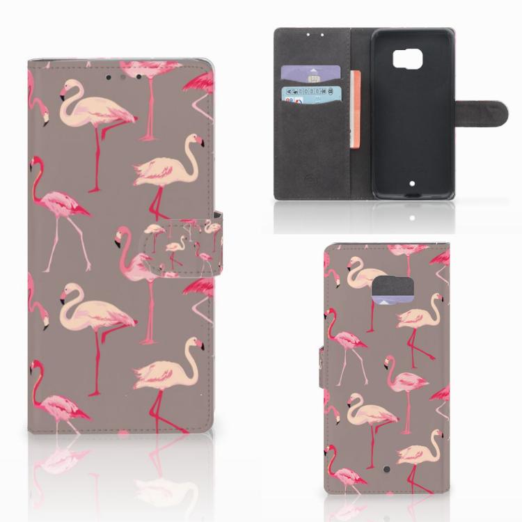 HTC U Ultra Telefoonhoesje met Pasjes Flamingo