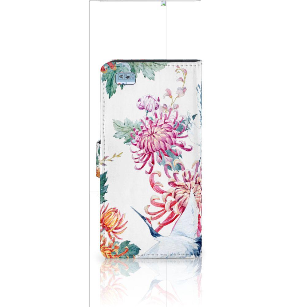 Huawei Ascend P8 Lite Telefoonhoesje met Pasjes Bird Flowers