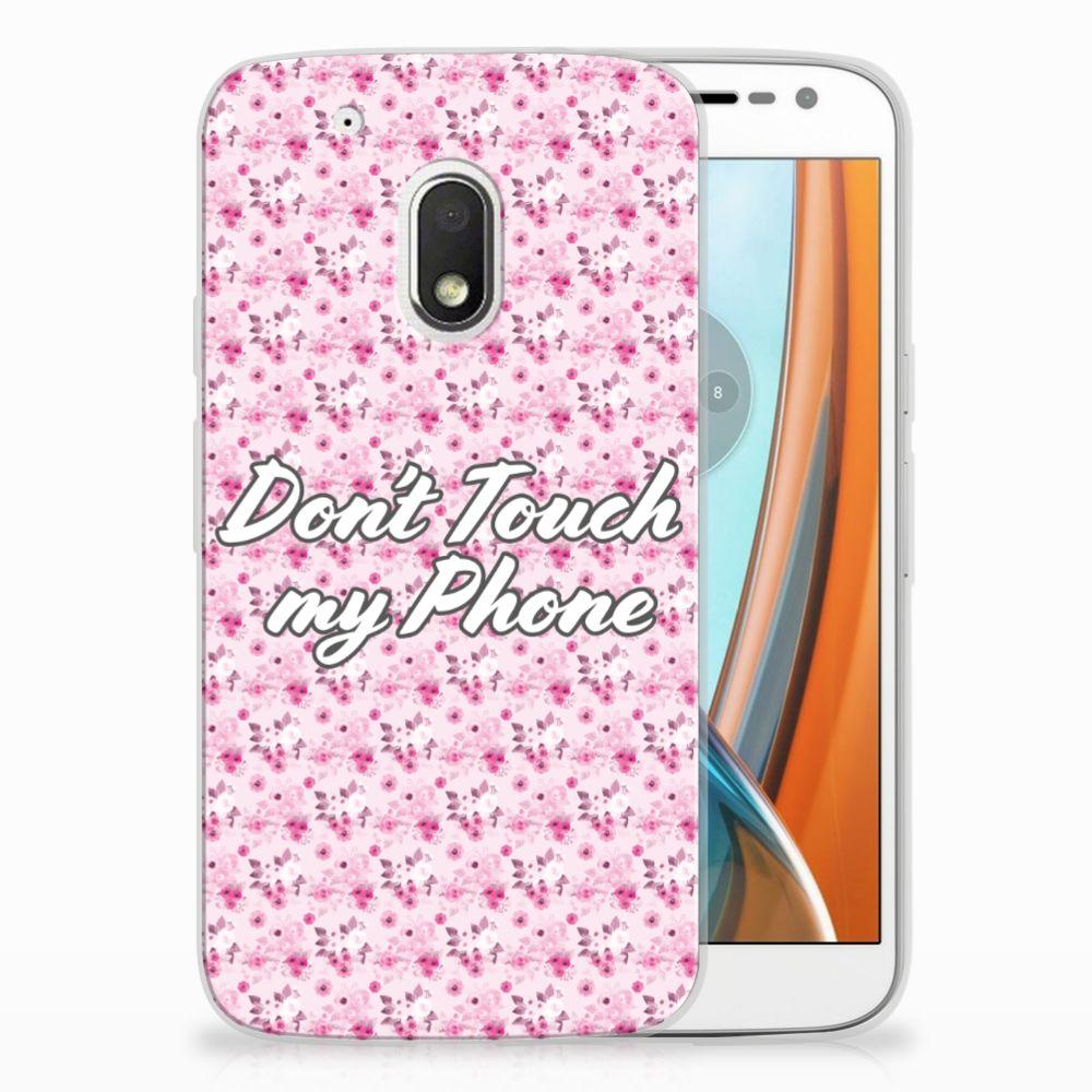 Motorola Moto G4 Play Uniek TPU Hoesje Flowers Pink DTMP