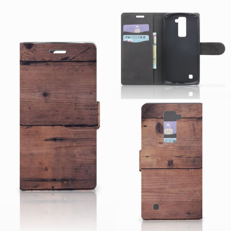 LG K10 2015 Book Style Case Old Wood