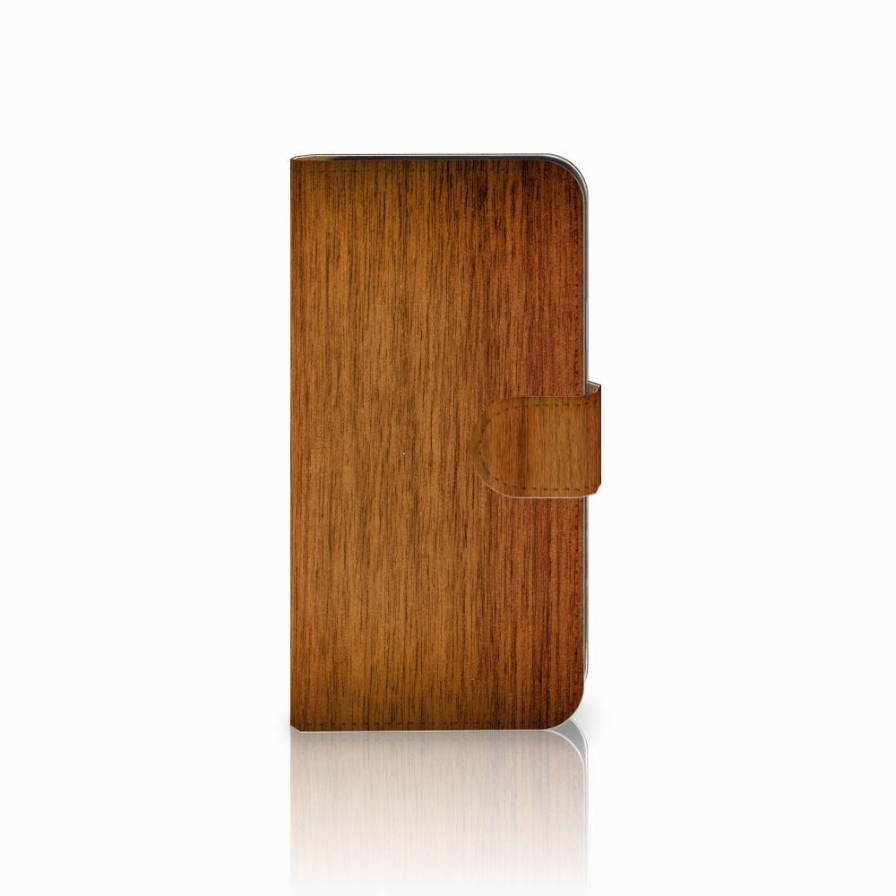 Samsung Galaxy E5 Uniek Boekhoesje Donker Hout