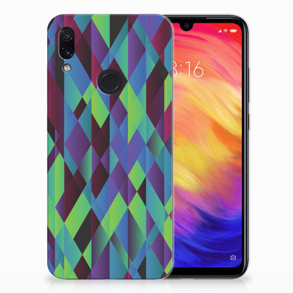 Xiaomi Redmi Note 7 Pro TPU Hoesje Abstract Green Blue