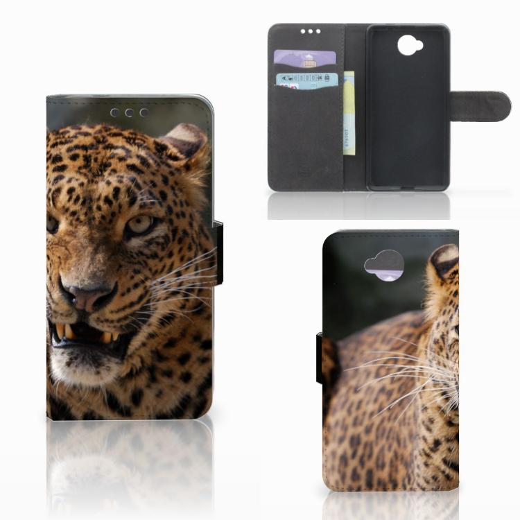 Microsoft Lumia 650 Telefoonhoesje met Pasjes Luipaard