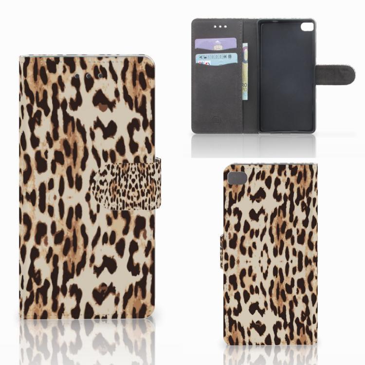 Huawei P8 Telefoonhoesje met Pasjes Leopard