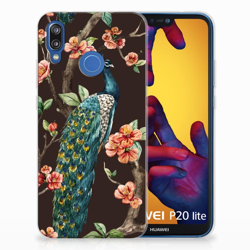 Huawei P20 Lite TPU Hoesje Pauw met Bloemen