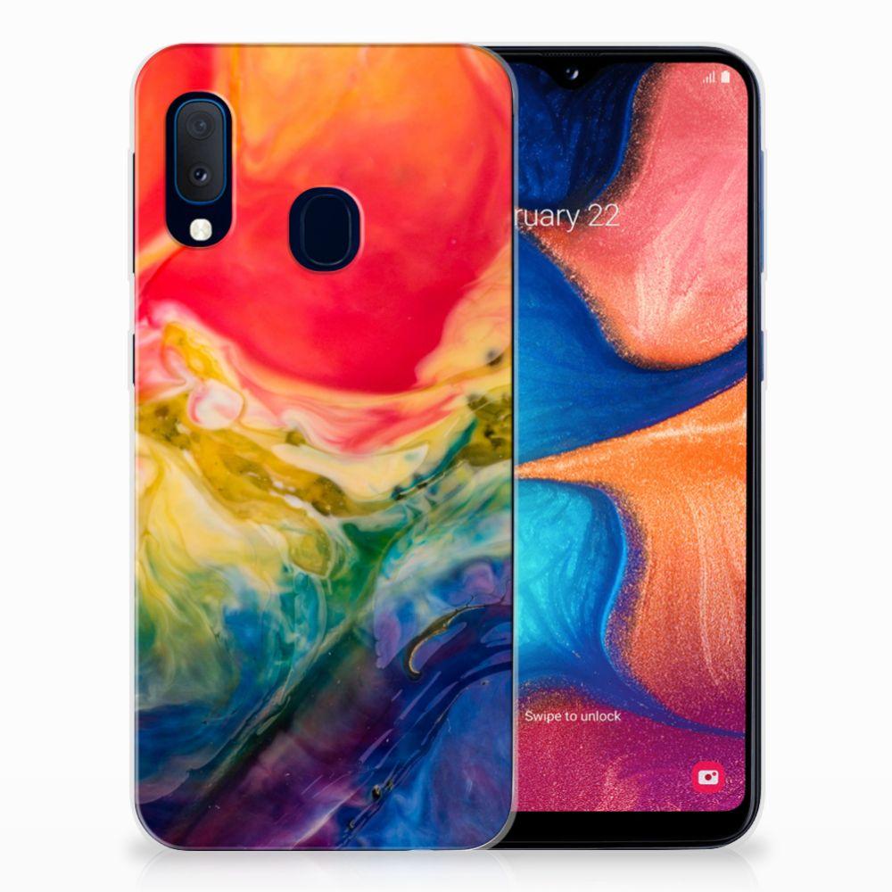 Hoesje maken Samsung Galaxy A20e Watercolor Dark