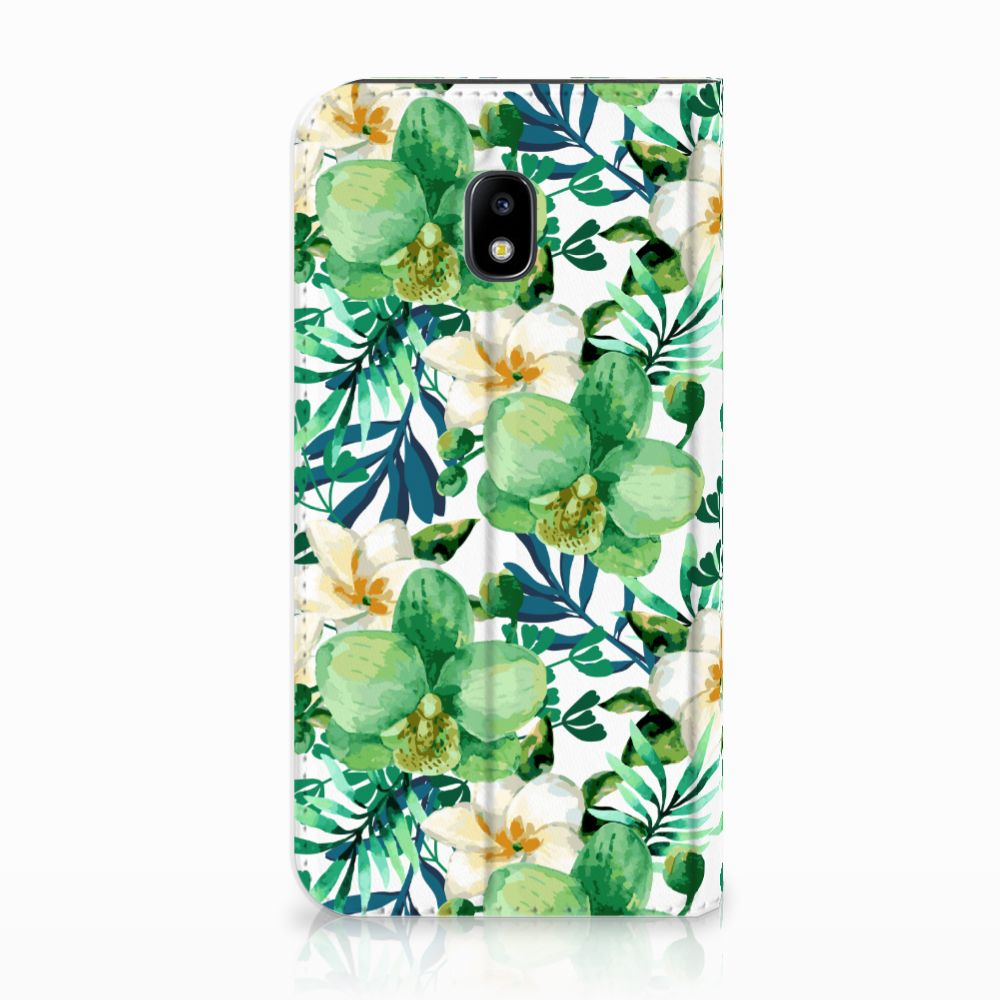 Samsung Galaxy J3 2017 Uniek Standcase Hoesje Orchidee Groen