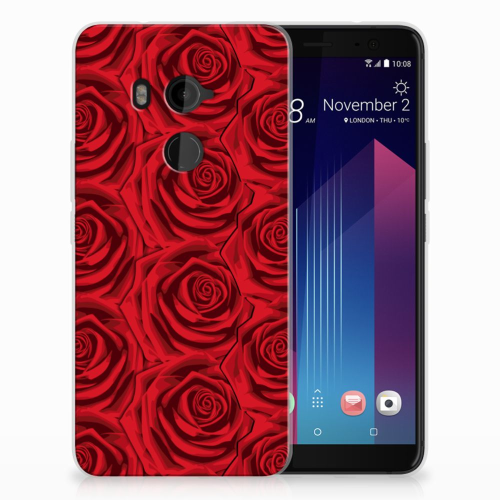 HTC U11 Plus Uniek TPU Hoesje Red Roses