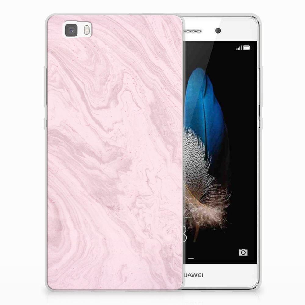 Huawei Ascend P8 Lite TPU Siliconen Hoesje Marble Pink - Origineel Cadeau Vriendin