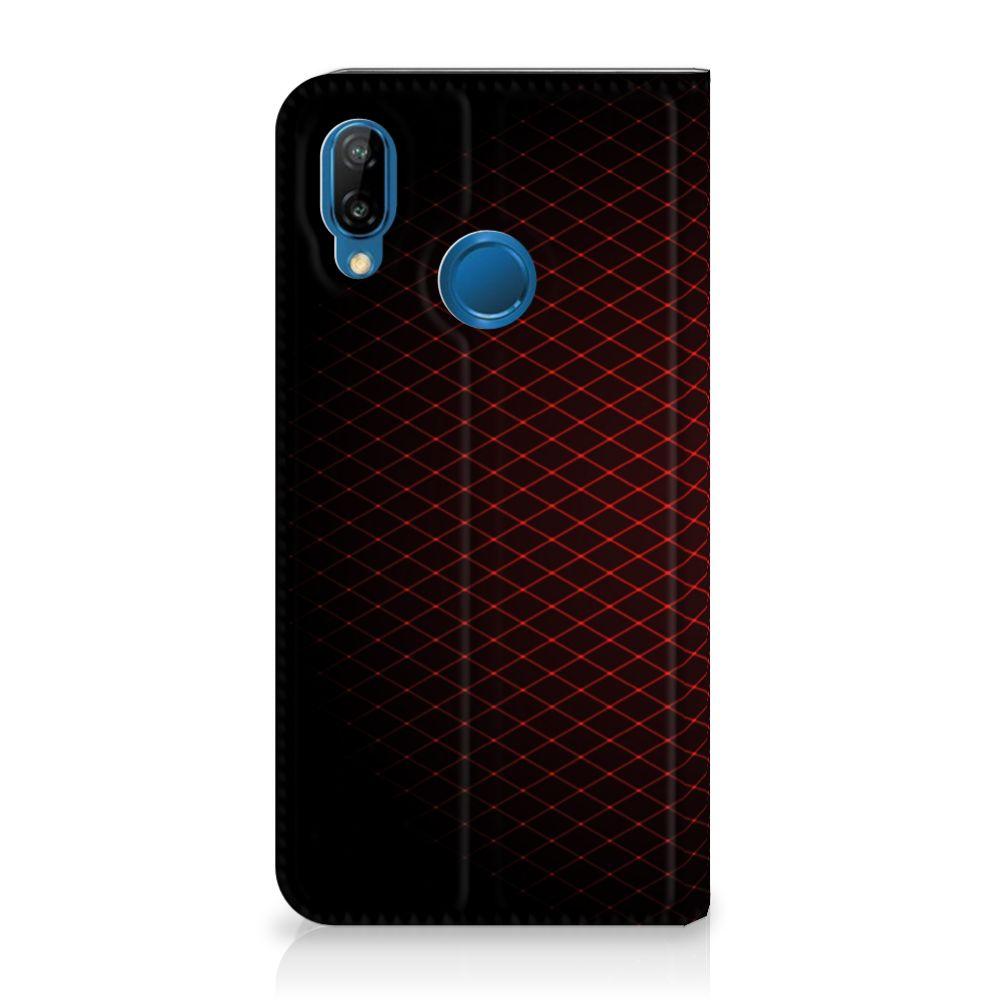 Huawei P20 Lite Uniek Standcase Hoesje Geruit Rood