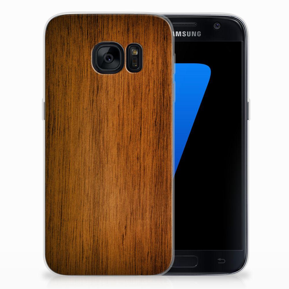 Samsung Galaxy S7 Uniek TPU Hoesje Donker Hout
