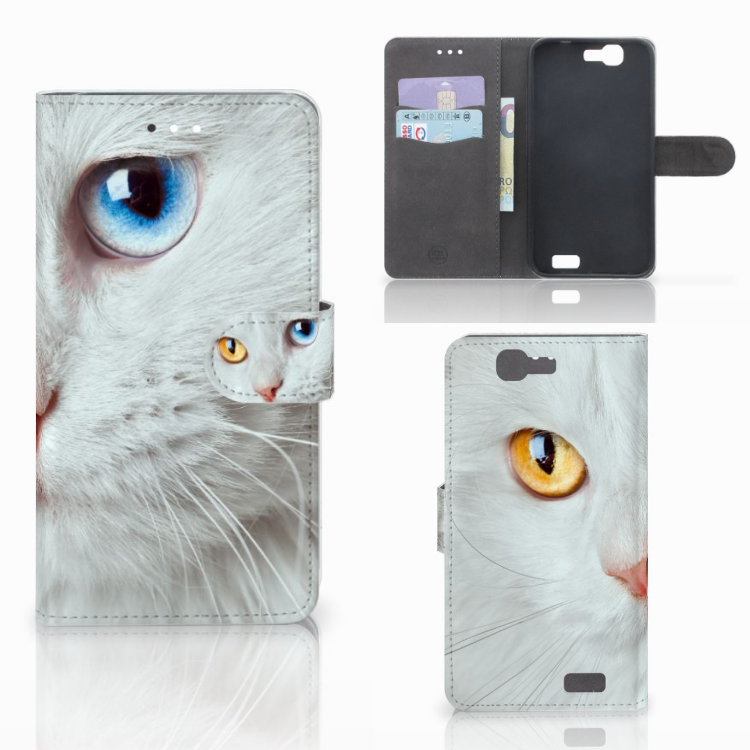 Huawei Ascend G7 Telefoonhoesje met Pasjes Witte Kat
