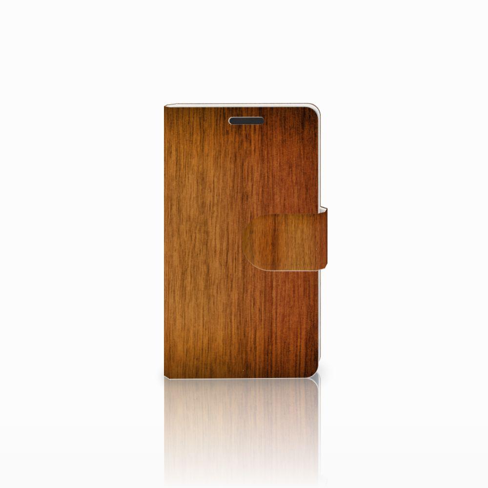 Microsoft Lumia 435 Uniek Boekhoesje Donker Hout