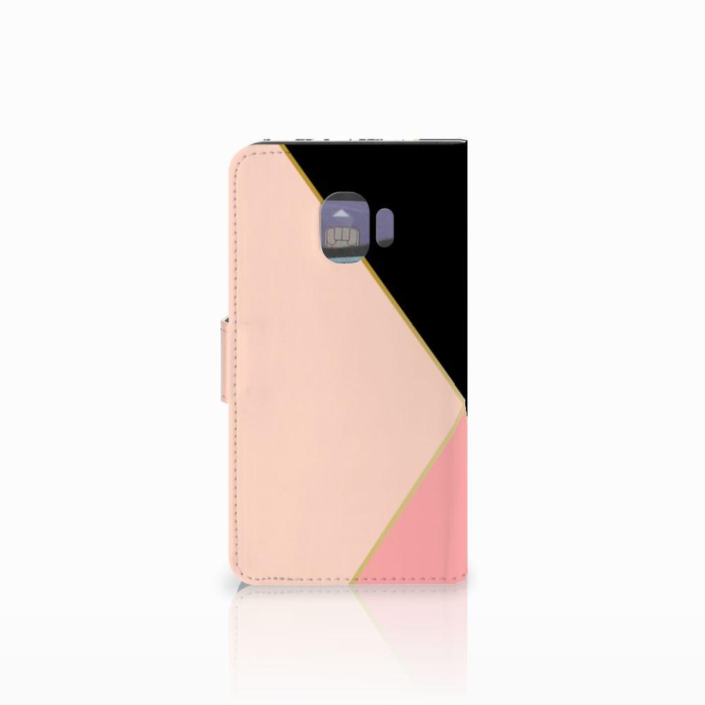 Samsung Galaxy J2 Pro 2018 Bookcase Zwart Roze Vormen
