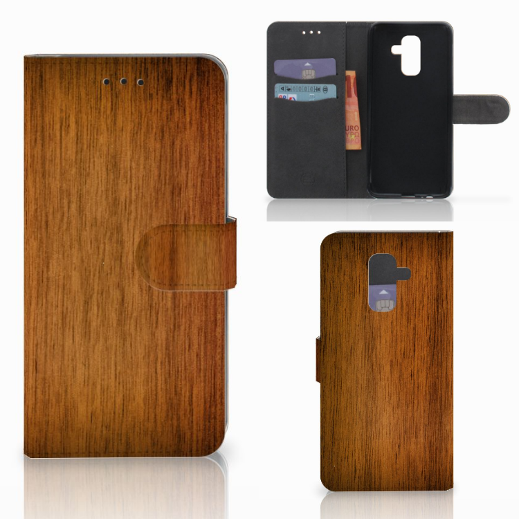 Samsung Galaxy A6 Plus 2018 Book Style Case Donker Hout