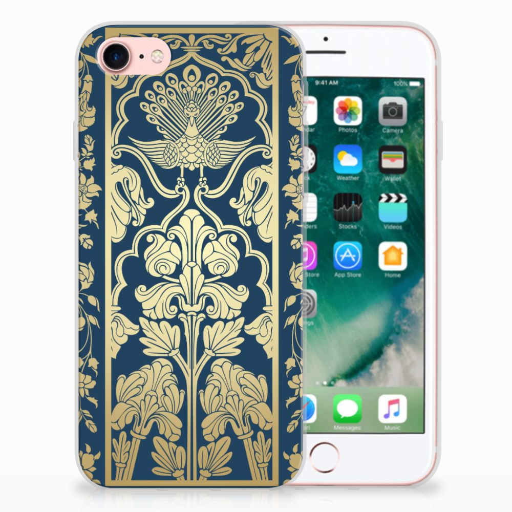 Apple iPhone 7 | 8 Uniek TPU Hoesje Golden Flowers