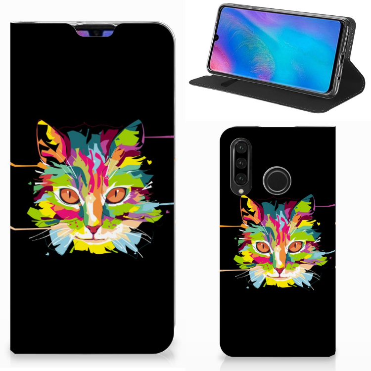 Huawei P30 Lite Magnet Case Cat Color