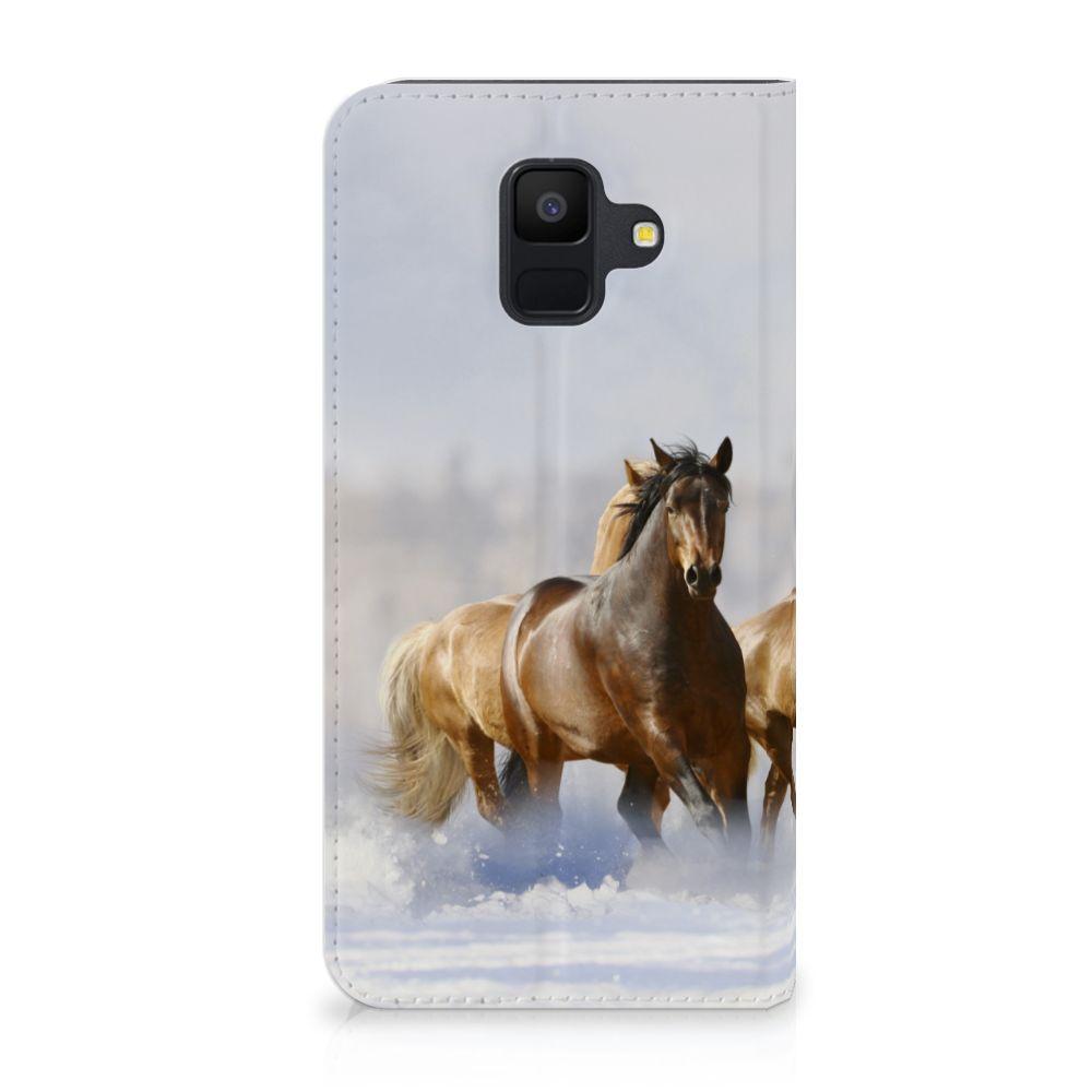 Samsung Galaxy A6 (2018) Uniek Standcase Hoesje Paarden