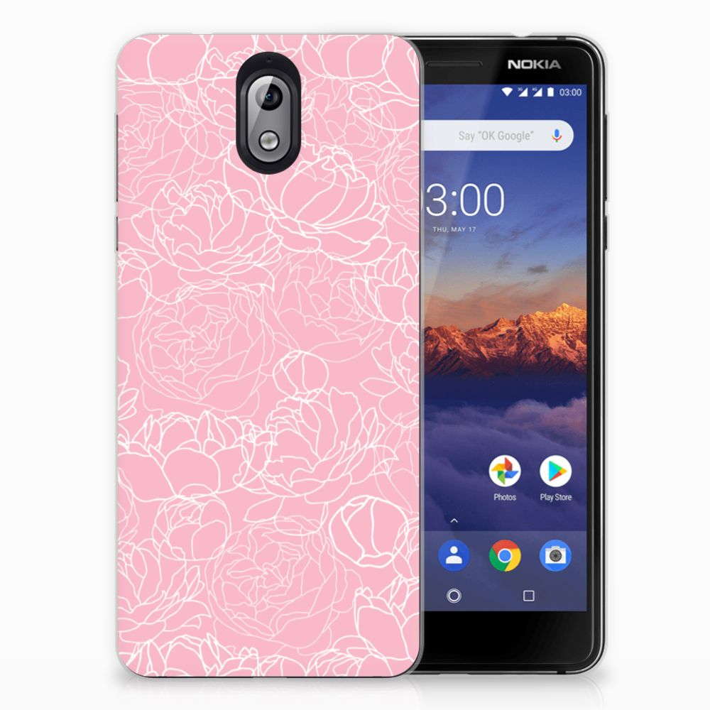 Nokia 3.1 (2018) Siliconen Hoesje White Flowers