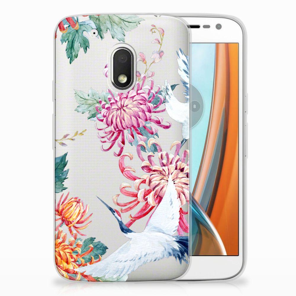 Motorola Moto G4 Play TPU Hoesje Bird Flowers
