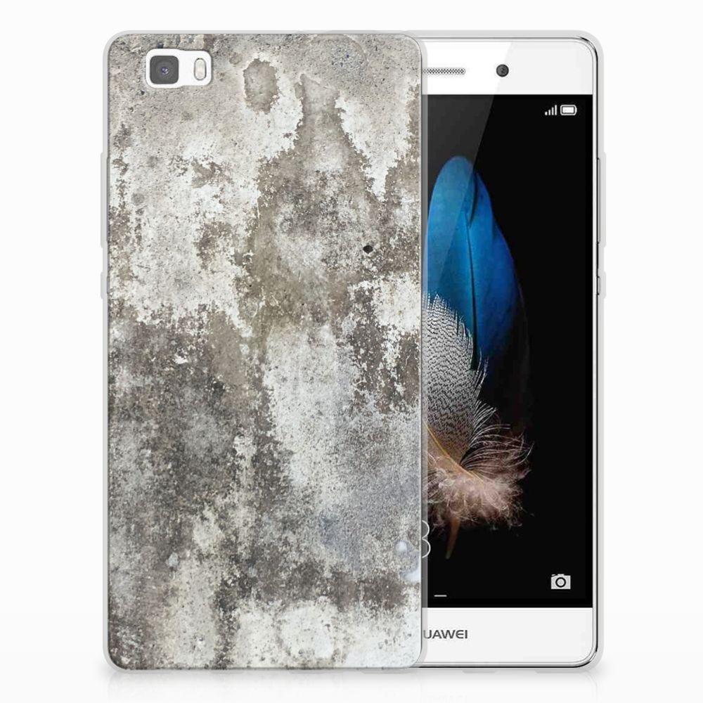 Huawei Ascend P8 Lite TPU Siliconen Hoesje Beton Print