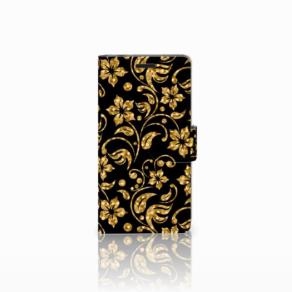 Sony Xperia E3 Boekhoesje Design Gouden Bloemen