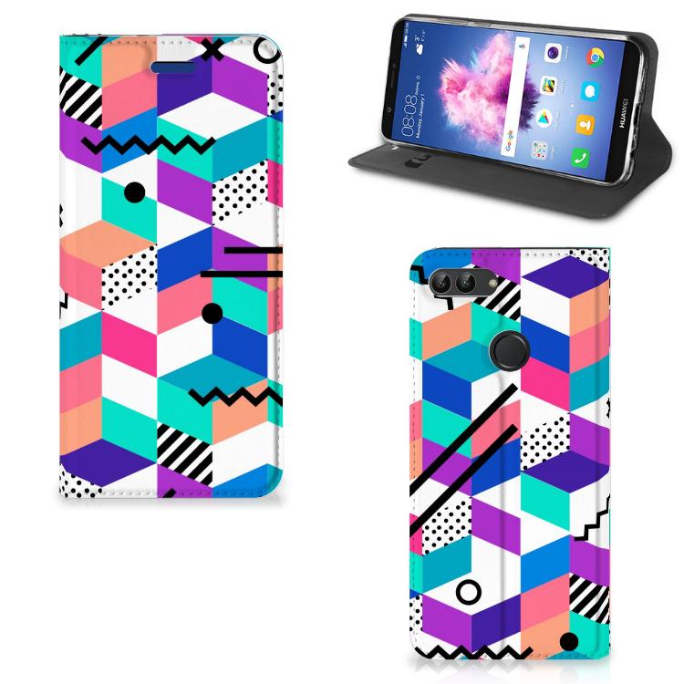 Huawei P Smart Stand Case Blokken Kleurrijk