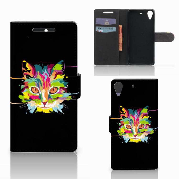 HTC Desire 628 Leuk Hoesje Cat Color