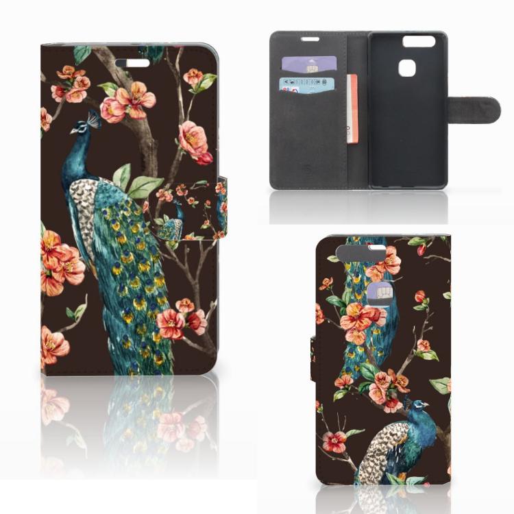 Huawei P9 Plus Telefoonhoesje met Pasjes Pauw met Bloemen