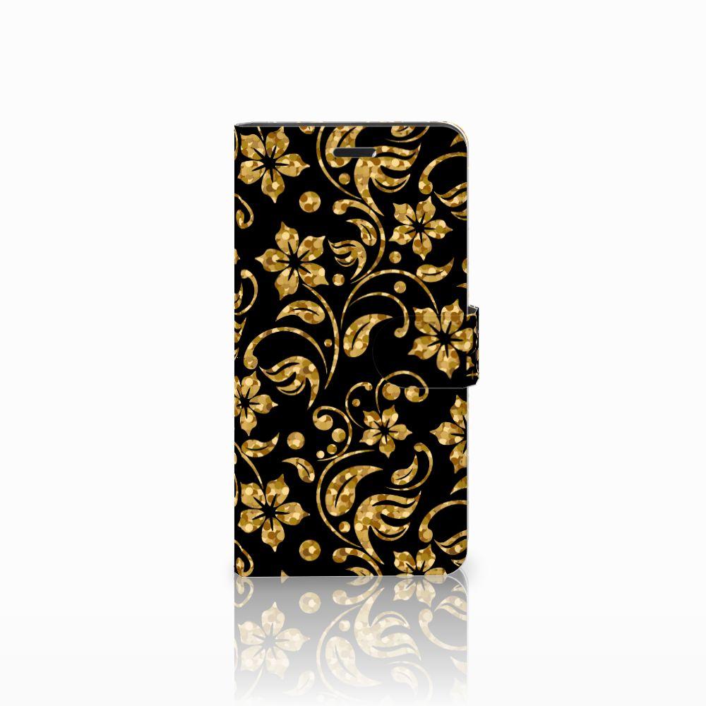 Wiko Pulp Fab 4G Boekhoesje Design Gouden Bloemen