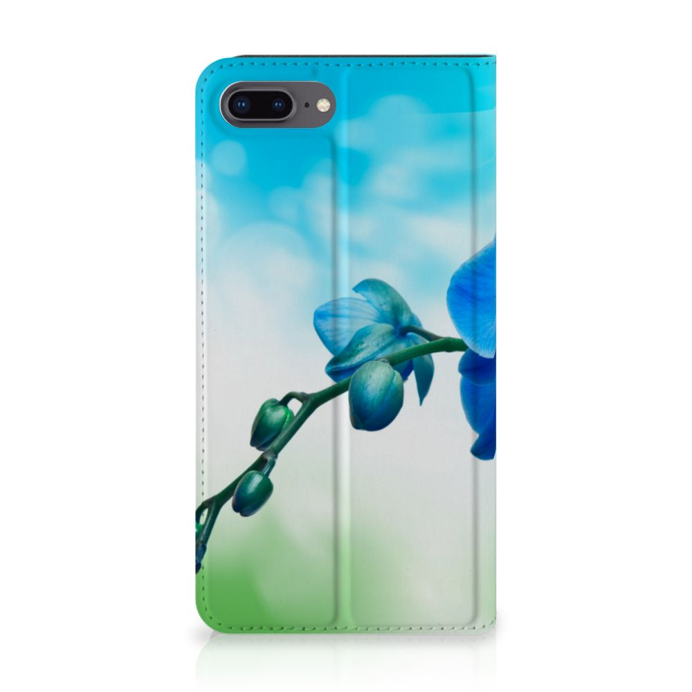 Apple iPhone 7 Plus | 8 Plus Standcase Hoesje Design Orchidee Blauw