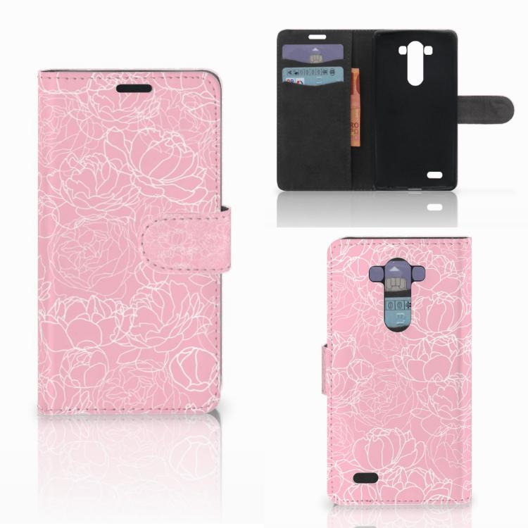 LG G3 Wallet Case White Flowers