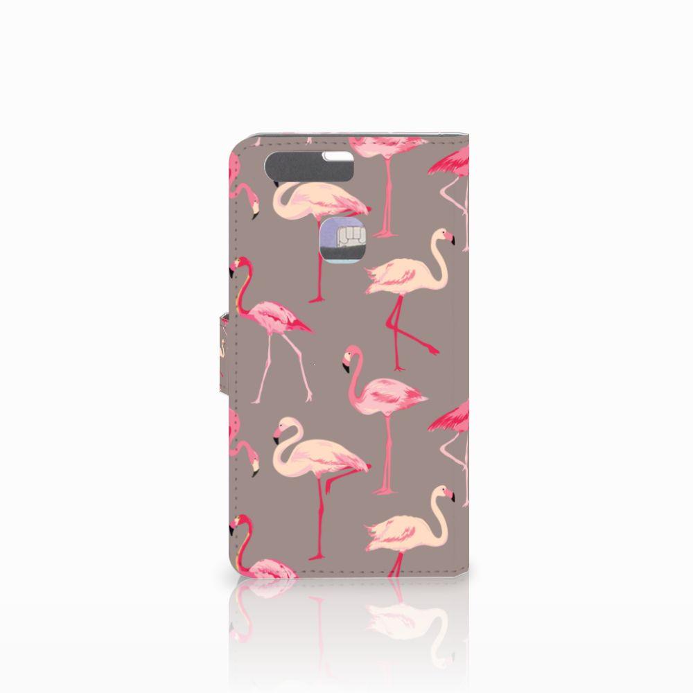 Huawei P9 Plus Telefoonhoesje met Pasjes Flamingo