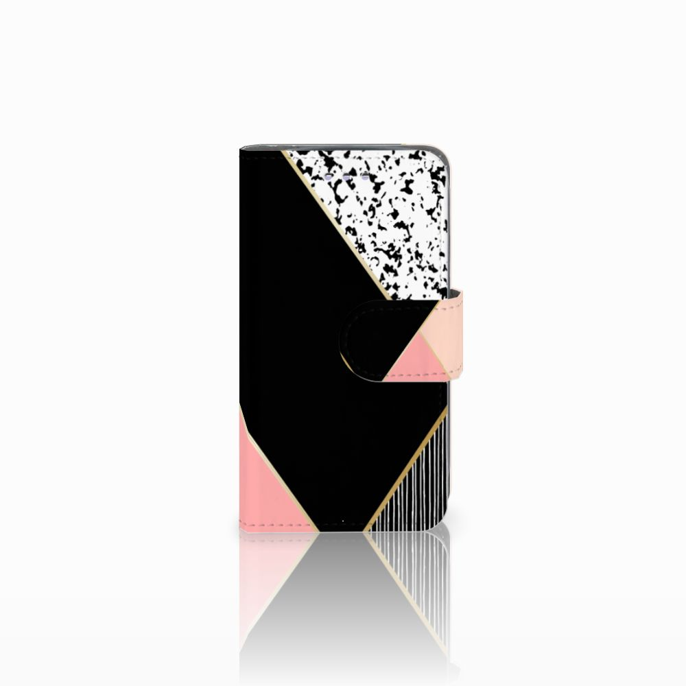 Samsung Galaxy S3 Mini Boekhoesje Black Pink Shapes