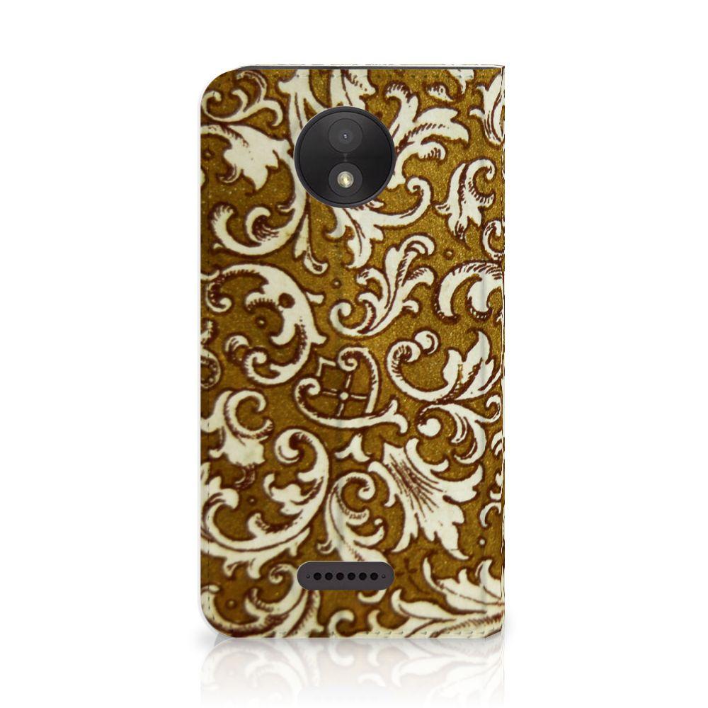 Motorola Moto C Plus Standcase Hoesje Design Barok Goud