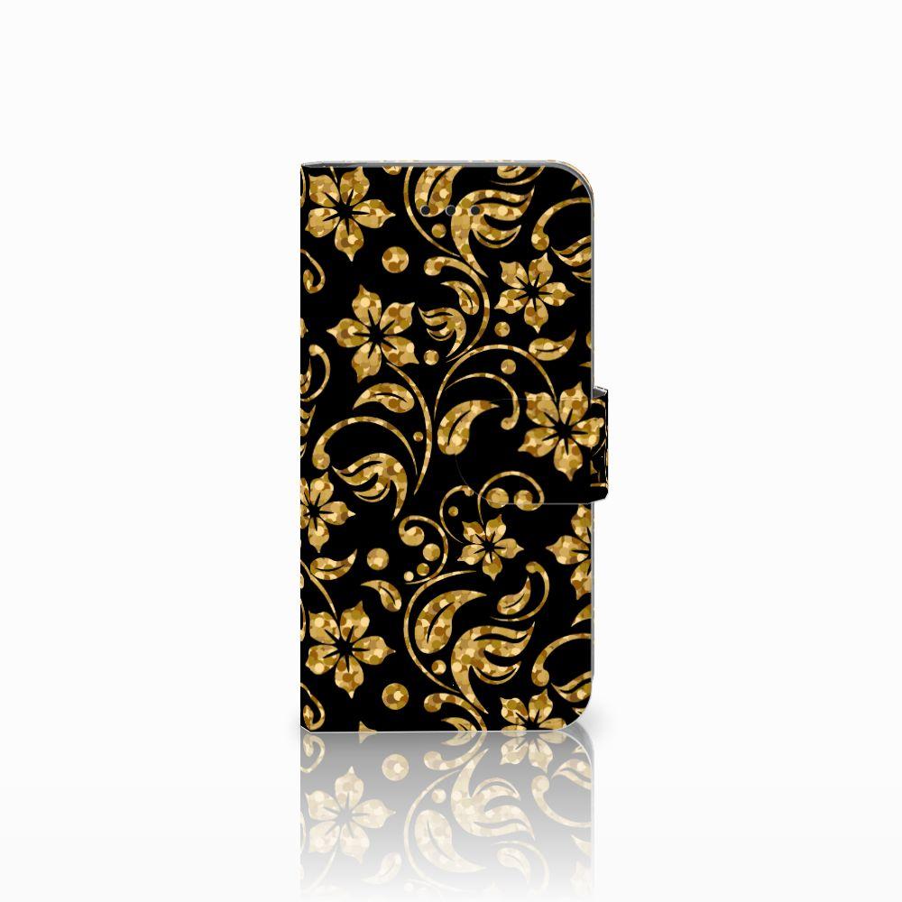 Apple iPhone X | Xs Boekhoesje Design Gouden Bloemen
