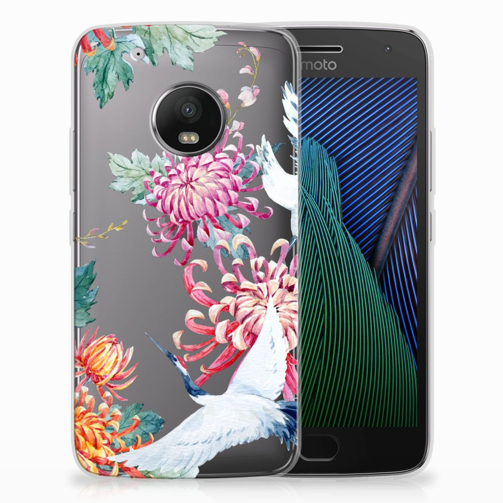 Motorola Moto G5 Plus Uniek TPU Hoesje Bird Flowers