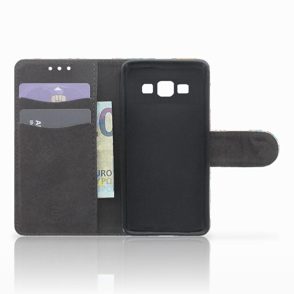 Samsung Galaxy A3 2015 Uniek Boekhoesje Vrolijke Uilen