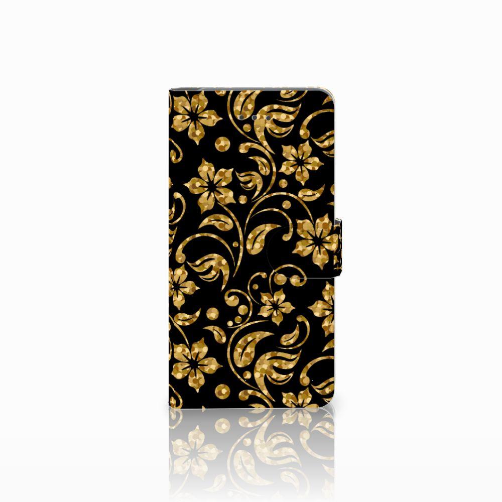 Samsung Galaxy J7 (2018) Boekhoesje Design Gouden Bloemen