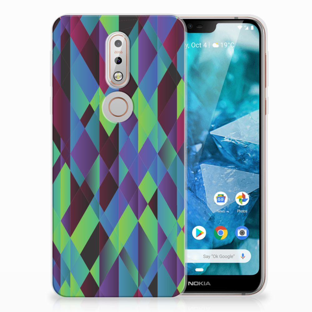 Nokia 7.1 TPU Hoesje Design Abstract Green Blue