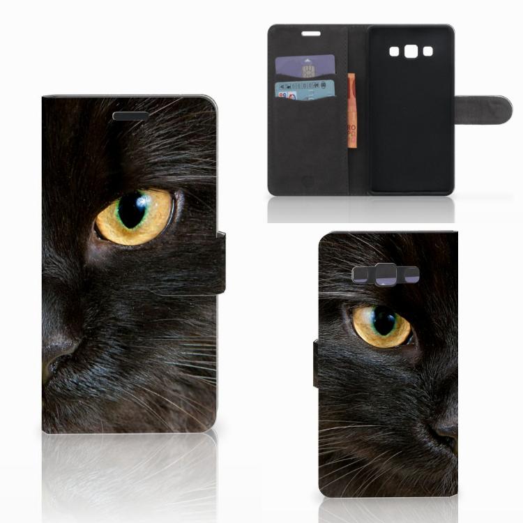 Samsung Galaxy A7 2015 Telefoonhoesje met Pasjes Zwarte Kat