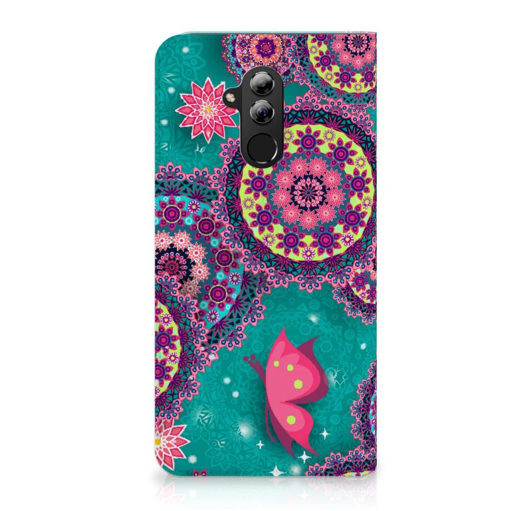Huawei Mate 20 Lite Uniek Standcase Hoesje Cirkels en Vlinders