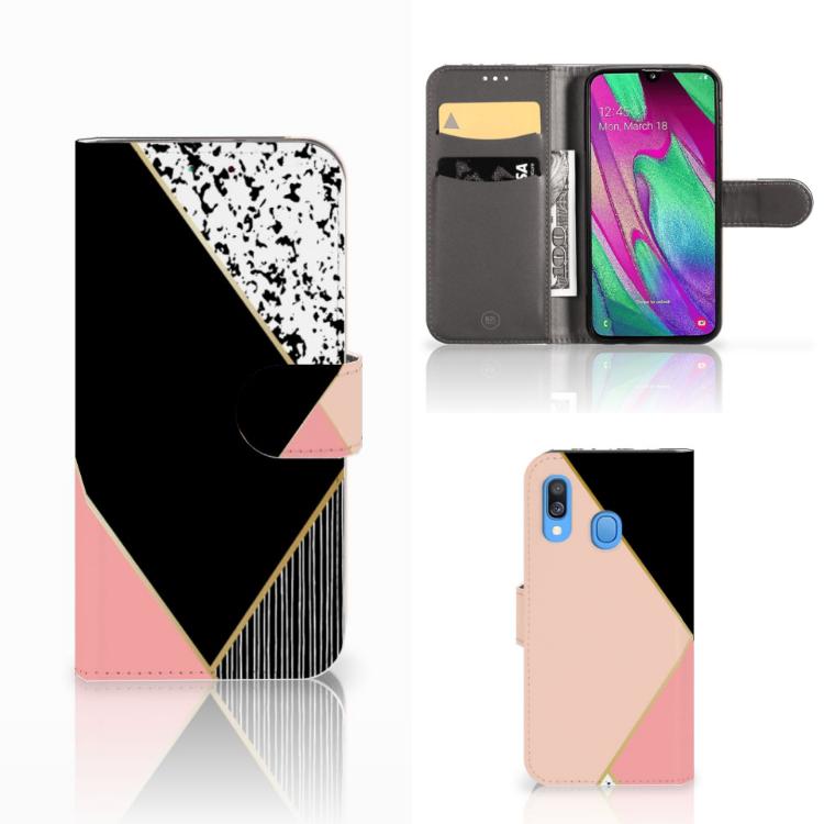 Samsung Galaxy A40 Bookcase Zwart Roze Vormen